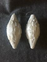 """Christmas Ornaments White Oval with Seed Beads Set of 2 Glass 6.5"""" Vintage"""