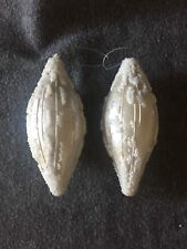 "Christmas Ornaments White Oval with Seed Beads Set of 2 Glass 6.5"" Vintage"