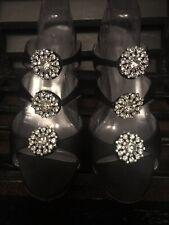 MANOLO BLAHNIK Black Satin Jeweled Crystals Stiletto Heel Sandals Size 38 (8)