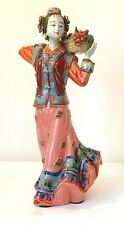 More details for vintage chinese porcelain ceramic lady figurines statues signed 11. 5 ins tall