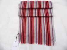 PAUL SMITH LADIES STRIPED SCARF RED SILVER BNWT