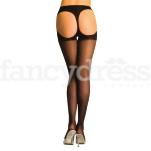 Black Sheer Thong Back Tights One Size Regular Hosiery Fancy Dress Accessory NEW