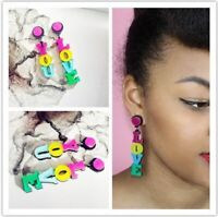 "Women Acrylic Resin ""LOVE YOU"" Earrings Boho Dangle Drop Stud Earring"