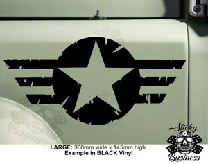 Military US Army Star Sticker American car jeep 4x4 Offroad vinyl - 33 COLOURS!