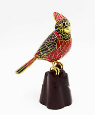 Beautiful New Collectible Cloisonne Cardinal Bird in Ornate Box with C.O.A.