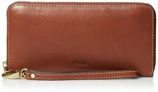 NEW Fossil Emma RFID Zip Clutch Women's Wallet Brown Mother's Day Gift Idea