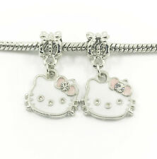 2pcs Silver Cat European Charm Crystal Spacer Beads Fit Necklace Bracelet NEW  ~