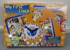 New Educa My First Clock Puzzle Clock w/ Movable Hands by Wooden Games Sealed