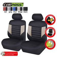 Universal Fit Two Front Car Seat Covers Car Truck Breathable Black Beige Airbag