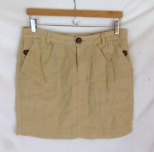 Gap - Beige pleated MINI skirt, large button accent, 100% LINEN, size 4
