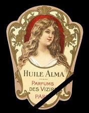 Antique Perfume Soap Label: Vintage French HUILE ALMA  Des Vizars, Paris France