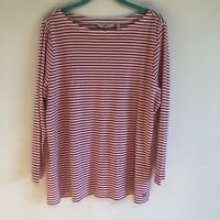 Vineyard Vines 3/4 Sleeve Red and White Striped Basic Top Size XXL
