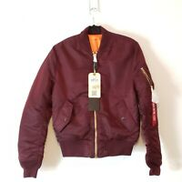Alpha Industries MA-1 Bomber Jacket Vintage Maroon Mens Slim Fit Size Small
