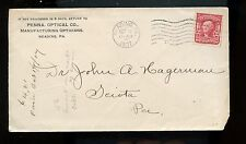 US Advertising Cover (Penna. Optical Co) 1907 Reading, Pa to Sciota, Pa