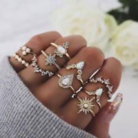 10Pcs Gold Bohemian Crown Knuckle Ring Midi Finger Rings Women Jewelry Gift Set