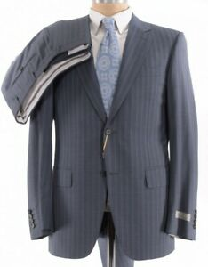 Canali NWT Suit Size 40R In Gray With Light Blue Pinstripes Wool $1,995