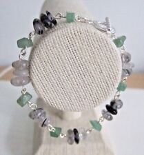 "Green Aventurine Chip and Rutilated Quartz Nugget Rosary Chain 7.5"" Bracelet."
