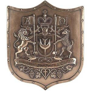 The Way Truth Life Lion Lamb Bronzetone Shield 12 x 14 Inch Hanging Wall Plaque