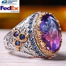Turkish Handmade 925 Sterling Silver Purple Tourmaline Luxury Stone Mens Ring