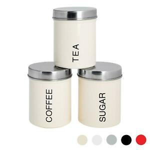 3x Tea Coffee Sugar Canisters Storage Set Kitchen Jars Containers Metal Cream