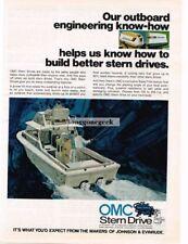 1972 OMC Stern Drive Inboard Boat Motors art Vtg Print Ad #2