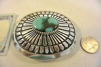 XL TOMMY JACKSON signed BELT BUCKLE Navajo GEM FOX TURQUOISE Sterling Silver!
