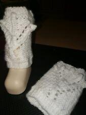 Baby-Stulpen Strümpfe Socken Beinwärmer weiß handgestrickt Größe 3Monate neu