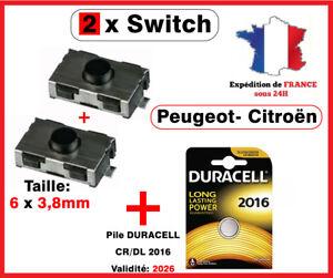 2 Switch bouton clé Peugeot 106 206 307 406 Citroen xsara C3 C5+ DURACELL CR2016