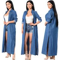 Womens Loose Denim Coat Outwear Long Lapel Jean  Jacket Oversize Casual