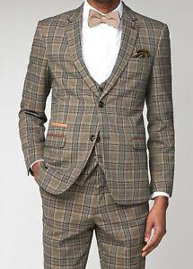 Men's Marc Darcy Enzo Tweed Check Peaky Blinders 3 Piece Wedding Suit Slim Fit