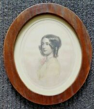 19th Century Oval Engraving Portrait on silk MRS FRENCH by Charles Martin del