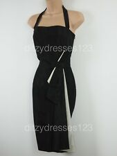 Zara Black & Ivory Satin Halter Neck Wiggle Pencil Dress Size S - 8. Exc. cond
