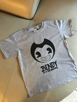 Customized youth Kids soft cotton Gildan gray t-shirt (Bendy) design in black.