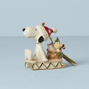 LENOX Peanuts SNOOPY Sledding Into The Holidays Christmas ORNAMENT 2021 NEW