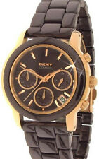 NEW DKNY BROWN CERAMIC+ROSE GOLD TONE CHRONOGRAPH BRACELET WATCH NY8430