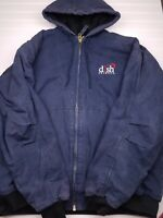 Berne Work Coat Duck Canvas Jacket Hooded Insulated Navy Blue Men's size 2XLR HU