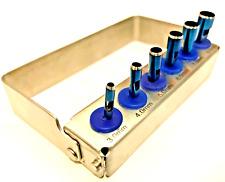 Dental Implant Tissue Punch Kit  Surgical Set of 6 + Bur Holder Blue Chrome