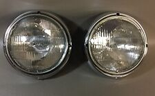 "Jeep CJ Headlight Assembly 7"" Chrome (pair for 72-86 Jeep) Bezels included NEW"
