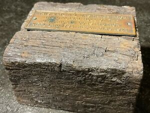 Original Wood & Copper USS CONSTITUTION OLD IRONSIDES Hull Piece and Plaque Navy