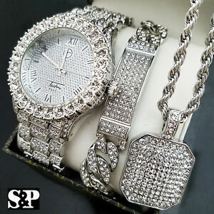 MENS ICED HIP HOP SILVER PT WATCH & FULL ICED NECKLACE & BRACELET COMBO SET