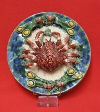 Assiette barbotine, céramique en trompe l'œil araignée de mer