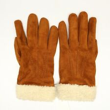 Bloomingdales Mens Gloves S Cognac Suede Shearling Cuff Cashmere Lining 3 Cord