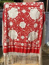ANTIQUE CHINESE CANTON SILK DOUBLE SIDED EMBROIDERED PIANO SHAWL RED