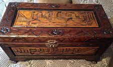 Antique Carved Camphor Wood Trunk w/ Asian Sailing Ships Pictorial Scene