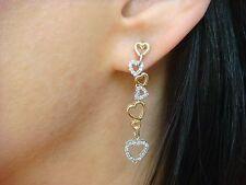 14K YELLOW AND WHITE GOLD DIAMOND HEARTS 1.5 INCH LONG DANGLE EARRINGS,3.7 GRAMS