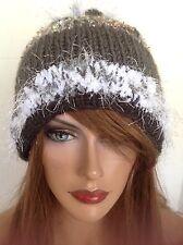 Beanie Hat Hand Knit Designer Fashion Pearl Heart Hip Chic Snow