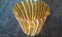 Elegant Murano Art Style Hand Blown Orange/White Glass Vase