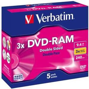 1x5 VERBATIM DVD-RAM 9.4GB Type4 Cartridge DoubleSided Discs (43493) NEU 008-382