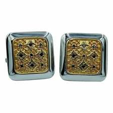 Vintage Black Round Cut Onyx Square Floral Cuff Men's Links in 10K Two Tone Gold