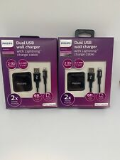 2 Phillips Elite Dual USB Wall Charger 2.4 AMP With USB A and USB